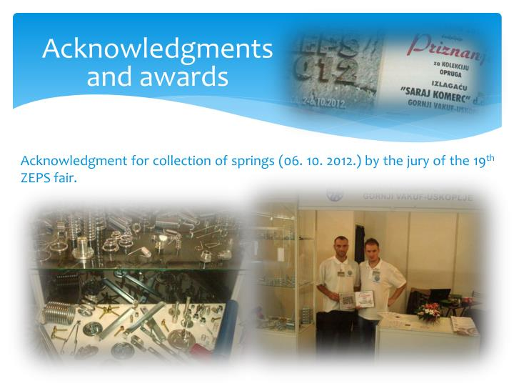 Acknowledgments and awards