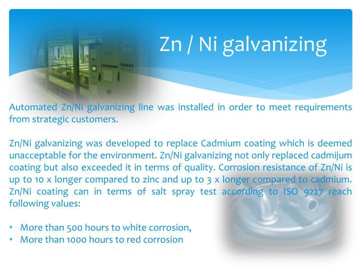 Zn / Ni galvanizing