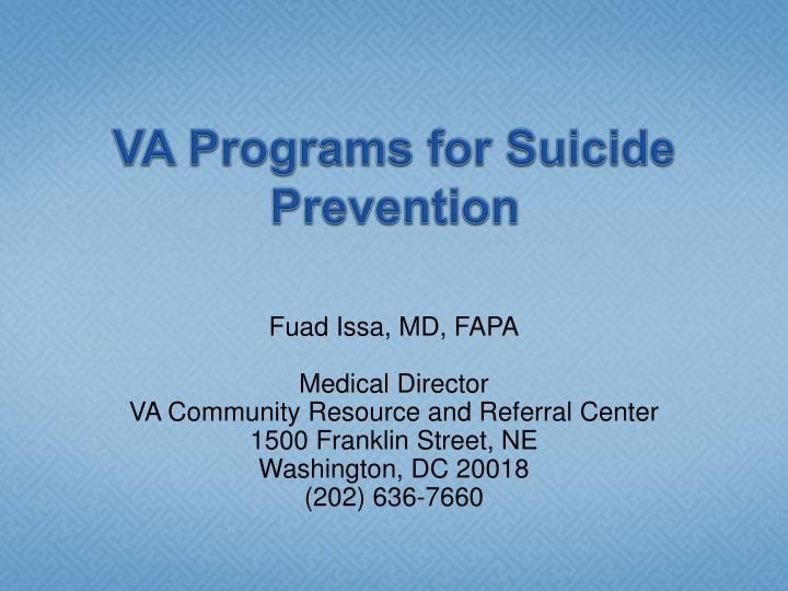 va programs for suicide prevention n.