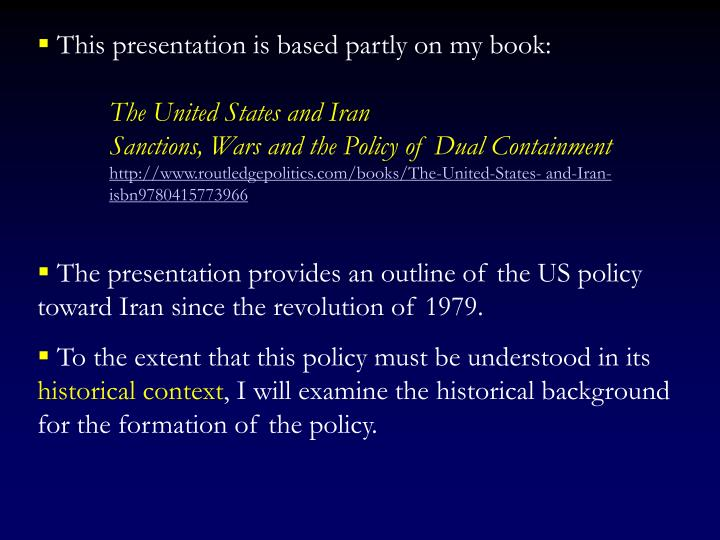 This presentation is based partly on my book: