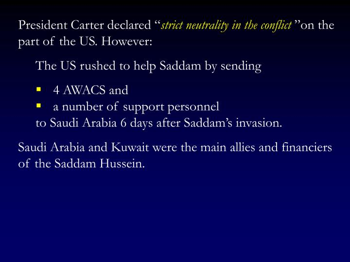 "President Carter declared """