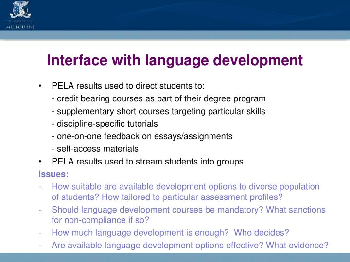 Interface with language development