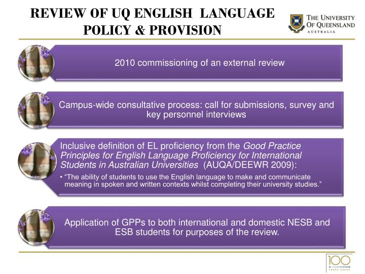 Review of uq english language policy provision