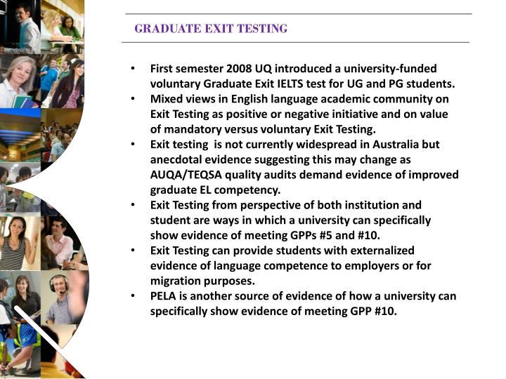 GRADUATE EXIT TESTING