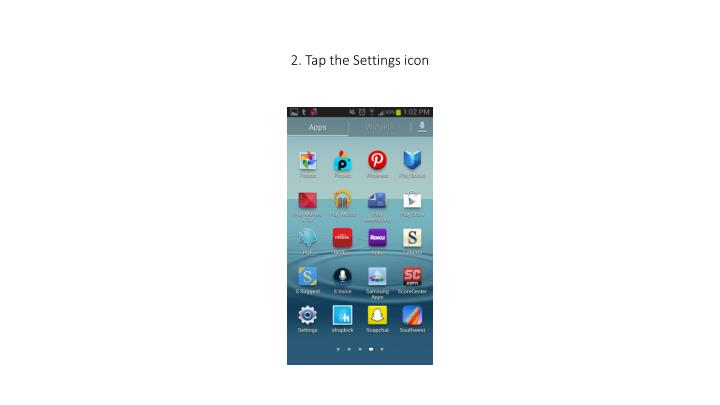 2 tap the settings icon