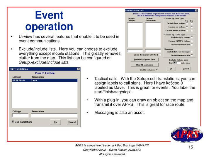 Event operation