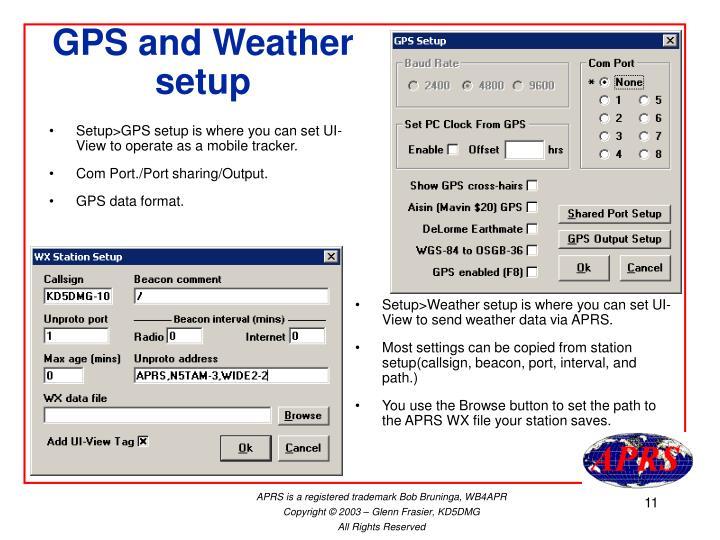 GPS and Weather setup