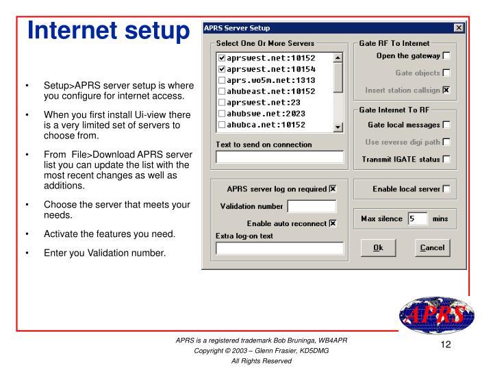 Internet setup