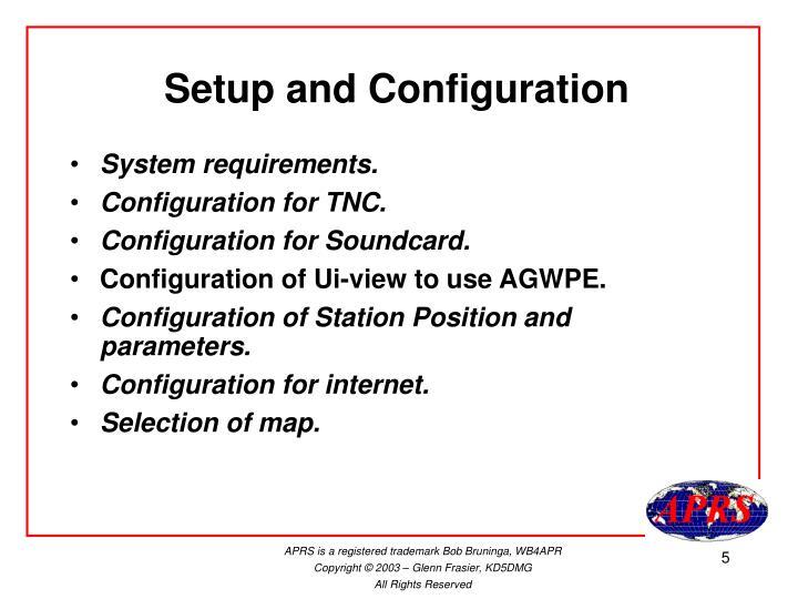 Setup and Configuration