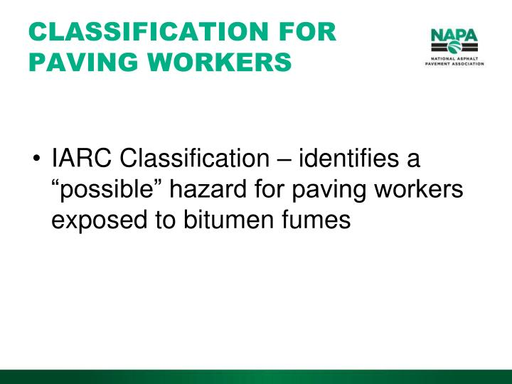 CLASSIFICATION FOR PAVING WORKERS