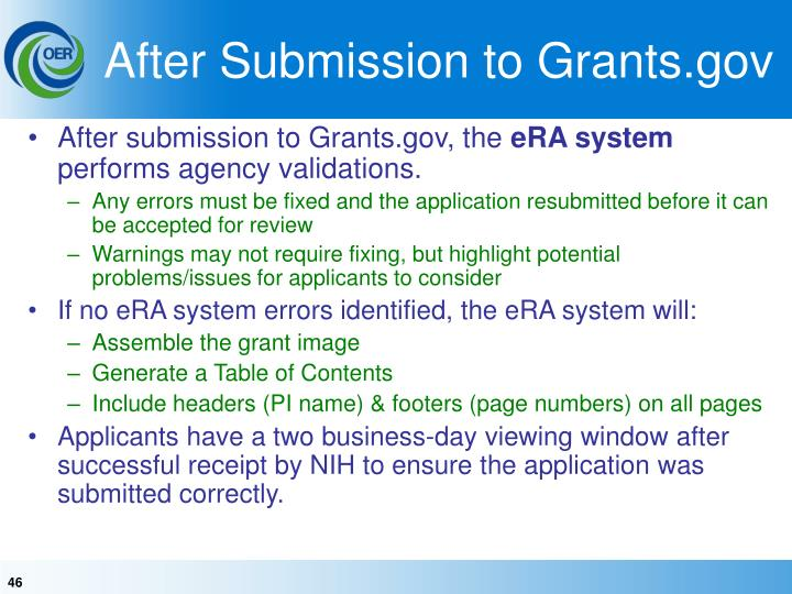 After Submission to Grants.gov