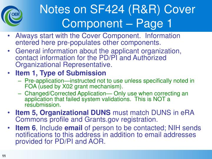 Notes on SF424 (R&R) Cover Component – Page 1