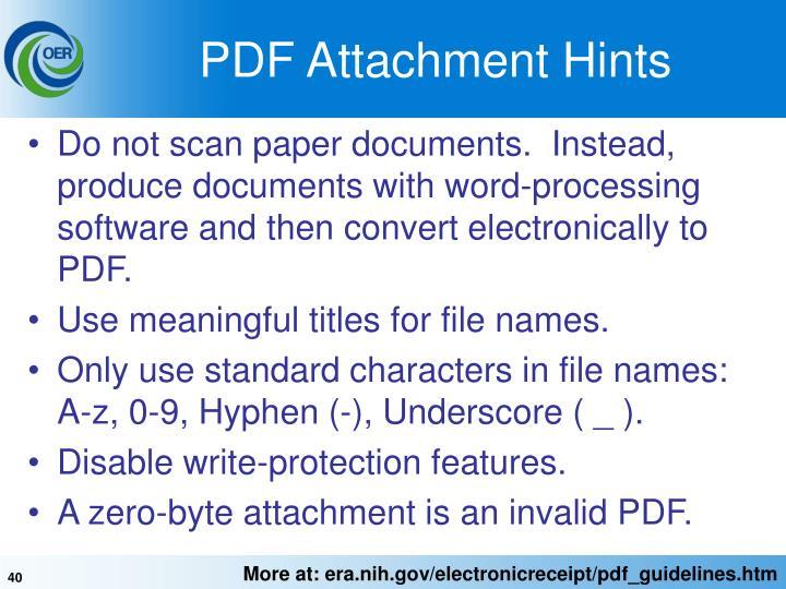 PDF Attachment Hints