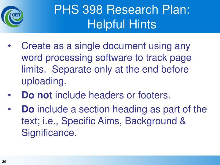 PHS 398 Research Plan: