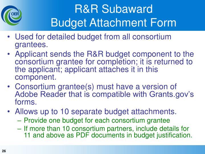 R&R Subaward