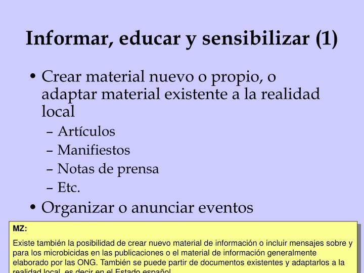 Informar, educar y sensibilizar (1)