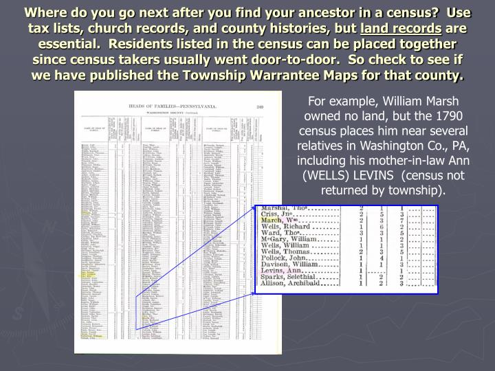 Where do you go next after you find your ancestor in a census?  Use tax lists, church records, and county histories, but