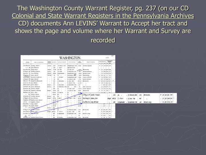 The Washington County Warrant Register, pg. 237 (on our CD