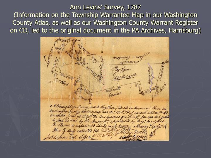 Ann Levins' Survey, 1787
