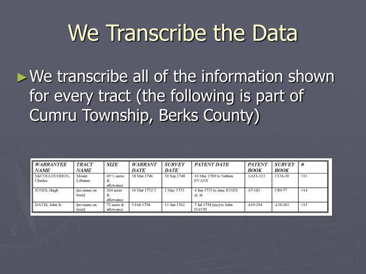 We Transcribe the Data
