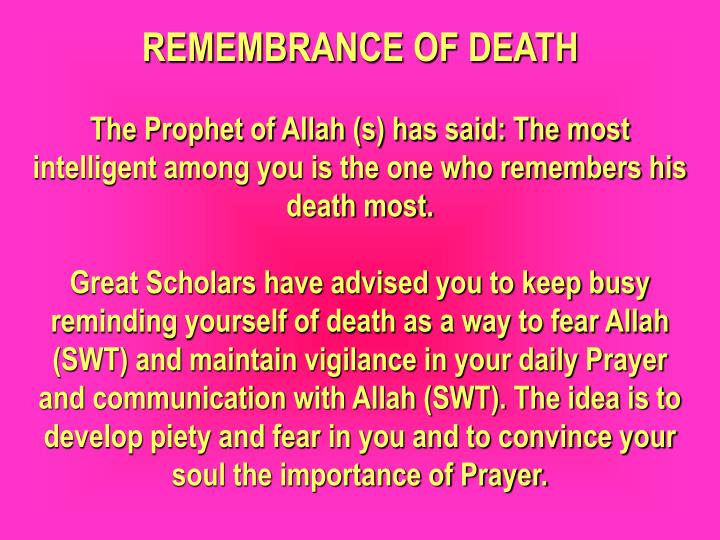 REMEMBRANCE OF DEATH