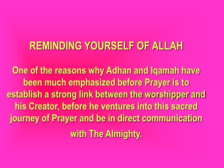 REMINDING YOURSELF OF ALLAH