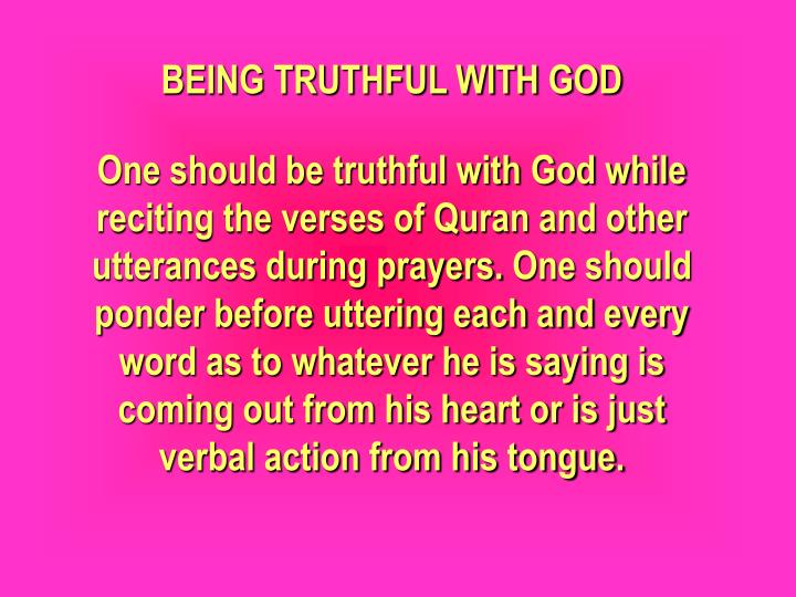 BEING TRUTHFUL WITH GOD