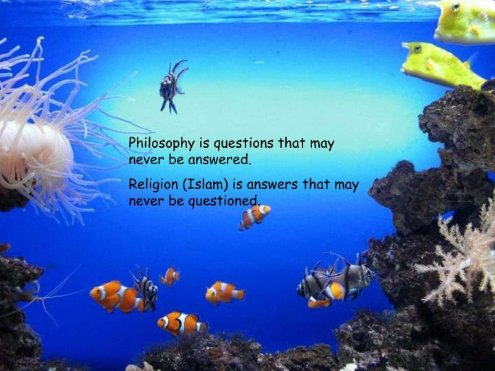Philosophy is questions that may never be answered.
