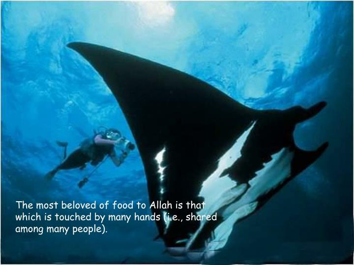 The most beloved of food to Allah is that which is touched by many hands (i.e., shared among many people).