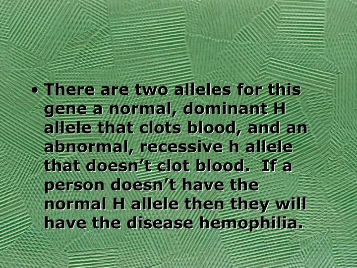 There are two alleles for this gene a normal, dominant H allele that clots blood, and an abnormal, recessive h allele that doesn't clot blood.  If a person doesn't have the normal H allele then they will have the disease hemophilia.