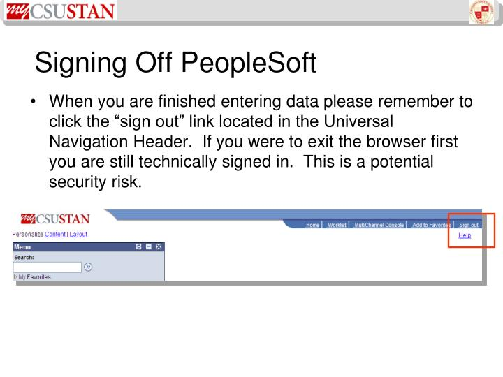 Signing Off PeopleSoft