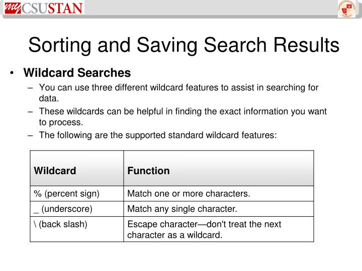 Sorting and Saving Search Results