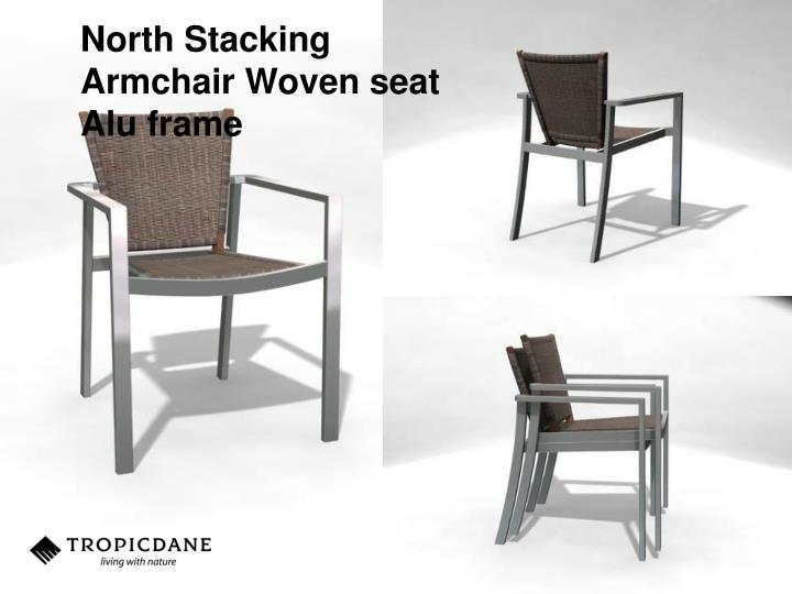 North Stacking Armchair Woven seat Alu frame