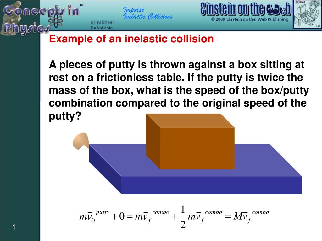 Ppt Example Of An Inelastic Collision Powerpoint Presentation