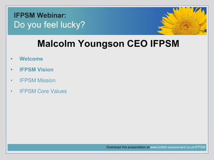 Malcolm youngson ceo ifpsm