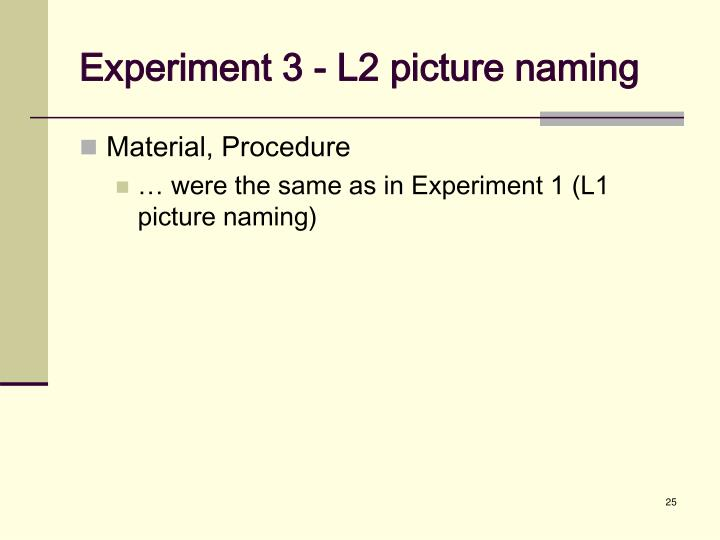 Experiment 3 - L2 picture naming
