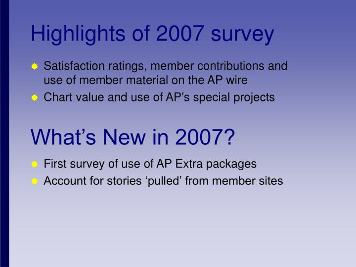 First survey of use of AP Extra packages