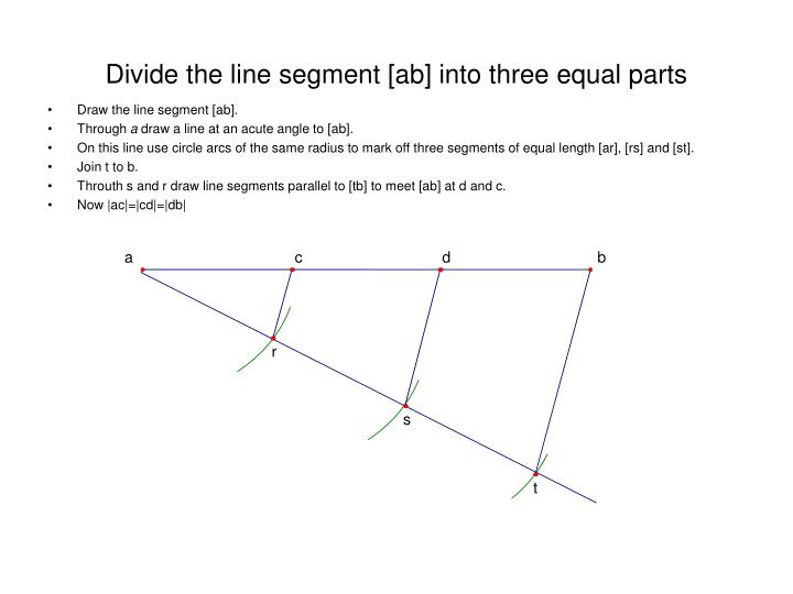 Divide the line segment ab into three equal parts