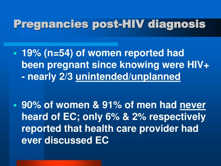Pregnancies post-HIV diagnosis