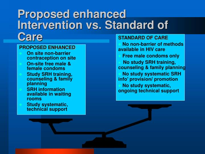 Proposed enhanced Intervention vs. Standard of Care