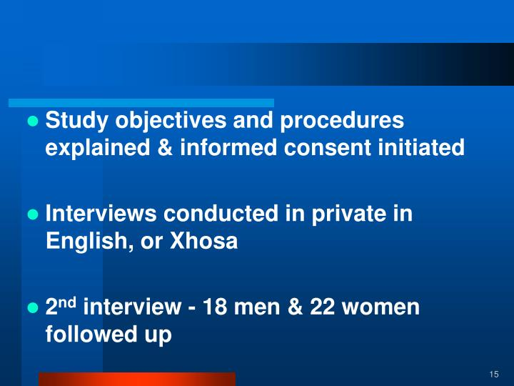 Study objectives and procedures explained & informed consent initiated