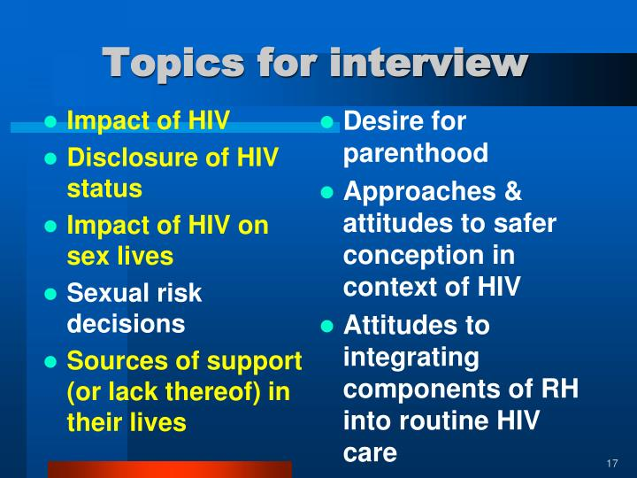 Topics for interview