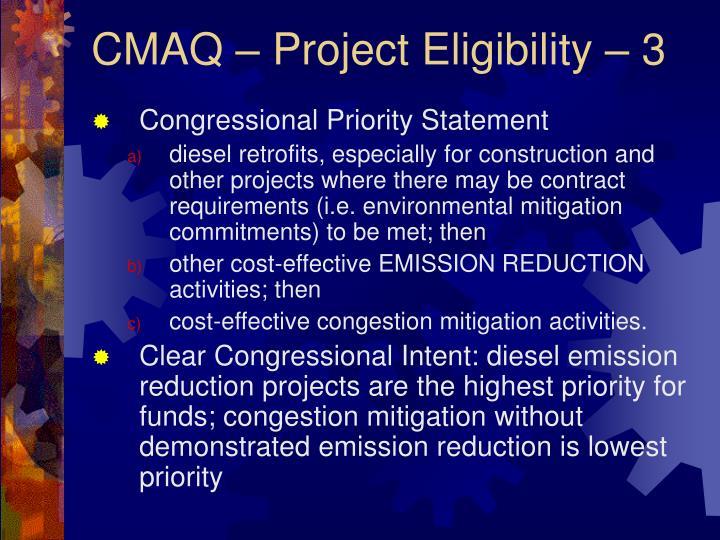 CMAQ – Project Eligibility – 3