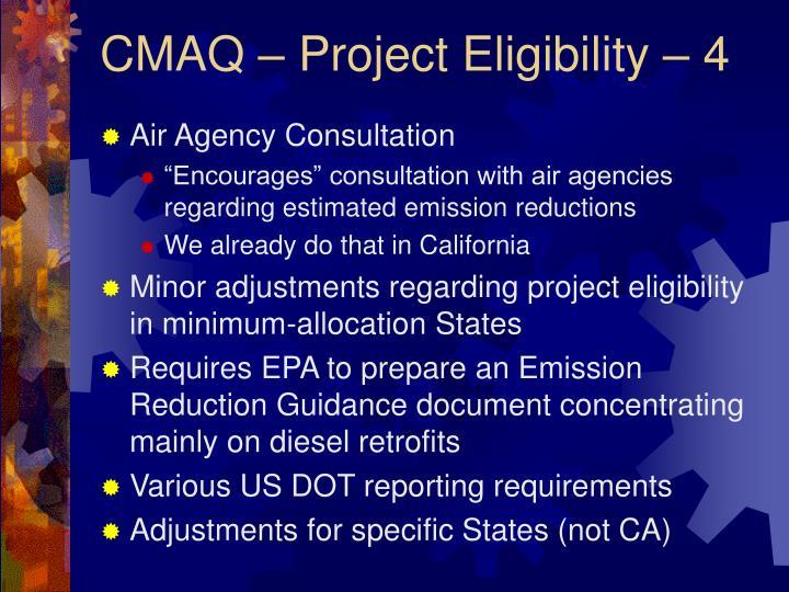 CMAQ – Project Eligibility – 4