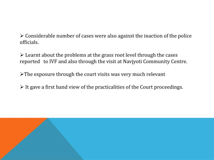 Considerable number of cases were also against the inaction of the police officials.