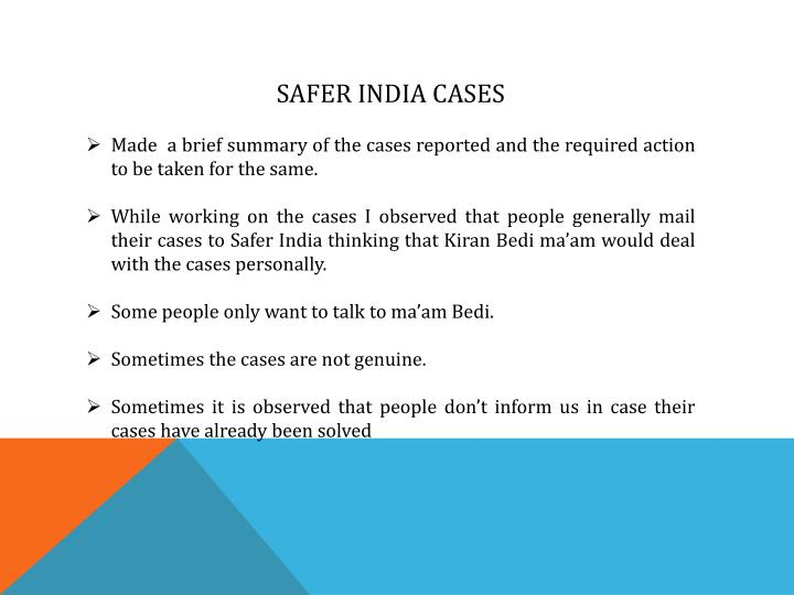 SAFER INDIA CASES