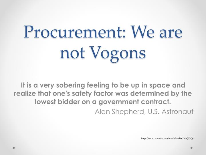 procurement we are not vogons n.