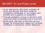 secret to low prices contd