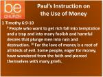 paul s instruction on the use of money