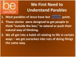 we first need to understand parables
